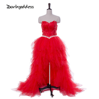 Darlingoddess Robe De Soiree Longue Sexy Short Front Long Back Evening Dresses Strapless Feather Red Black