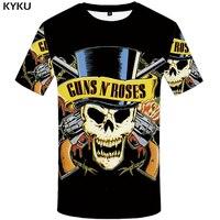 KYKU Brand Skull T Shirt Guns N Roses Clothes Gun Tops Punk Clothing Gothic Shirts Tshirt