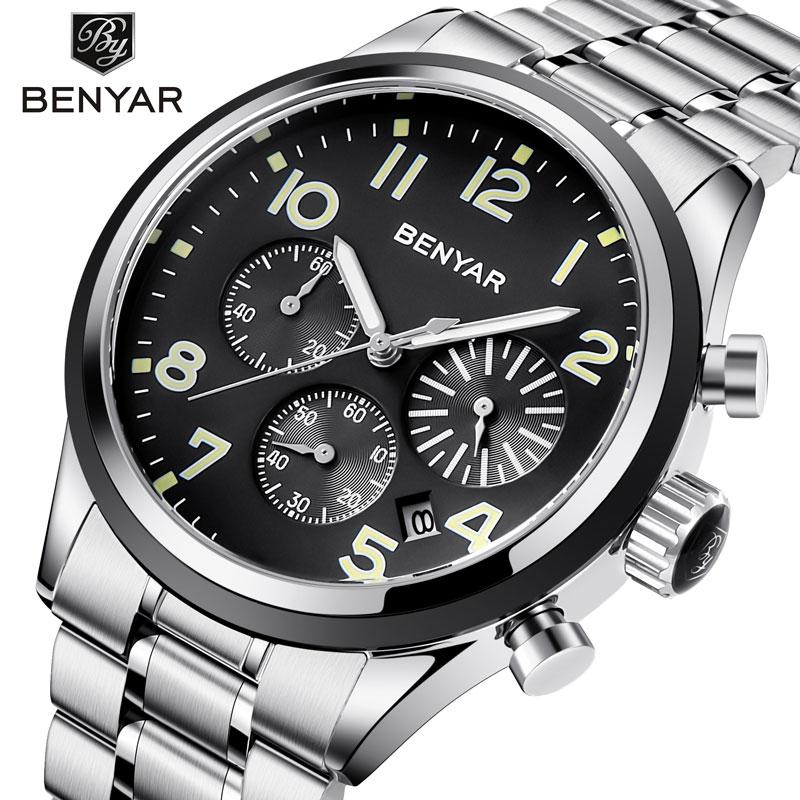 BENYAR Men's Watch Fashion Brand Sports Watch Chronograph Watch Quartz Watch Stainless Steel Waterproof Clock Relogio Feminino