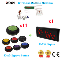 Wireless Calling Pager System High Quality 433.92MHZ Restaurant Pagers Equipment Show 2groups Number(1 display+11 call button)