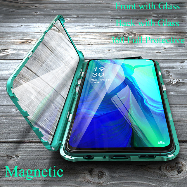 Magnetic Case for OPPO Reno 10X Zoom Case Front+Back double-sided 9H Tempered Glass Case for OPPO Reno CPH1919 Metal Bumper Case