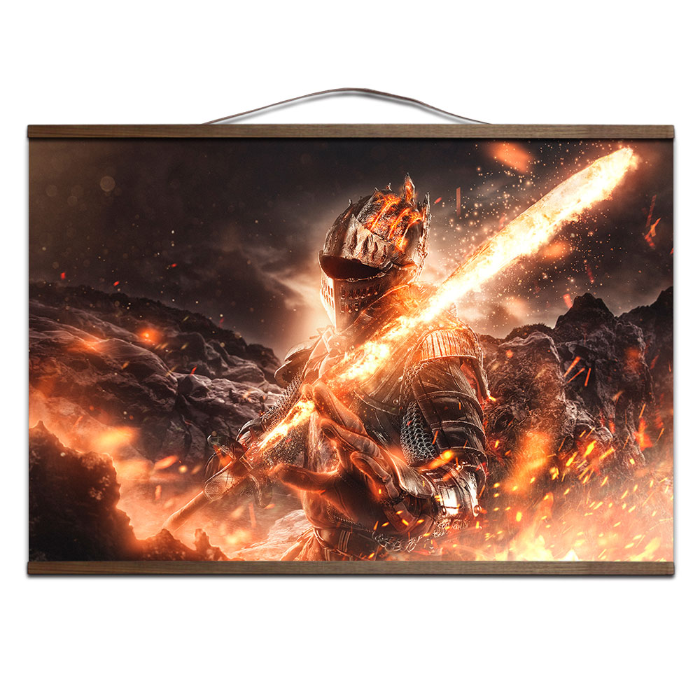 Dark Souls 2 3 poster for HD canvas posters decoration painting with solid wood hanging scroll 1