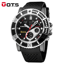 O.T.S Top Brand Watch Mens Sports Series Luxury Multi-functional Analog Quartz Digital Alarm Stopwatch Casual Watches For Man