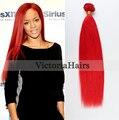 Produtos de cabelo Frete Grátis por DHL Macio Brasileiro Reto de seda Vermelho Extensões de Cabelo Humano Cor 1 pc/única Virgem cabelo Tece