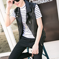 Fashion slim fit lapel turn-down collar pu leather short vest men punk style inclined zipper sleeveless jacket men MJ9