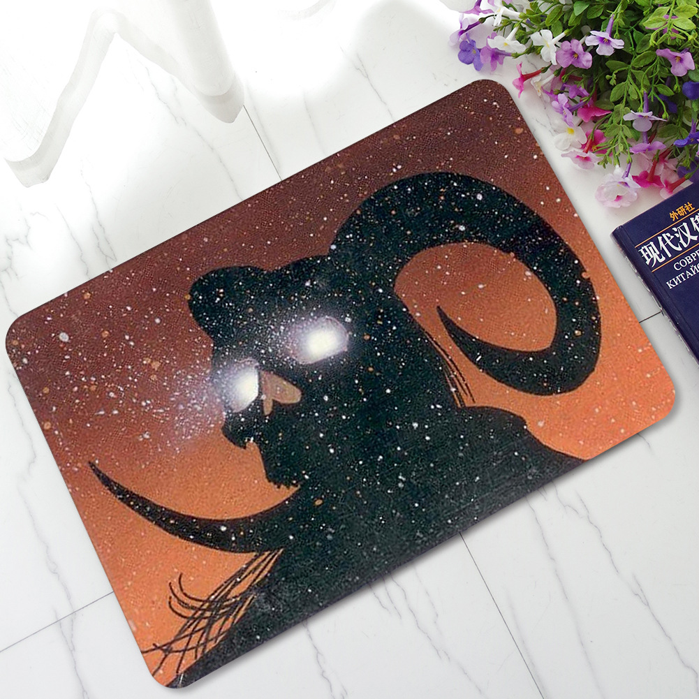 1pcs cat skull pattern anti slip carpet halloween skull bathroom door carpet doormat mat rubber pad high end european rug