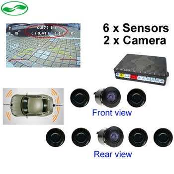 New Dual Channel Car Video Parking Reverse Radar System 6 Sensor with Front View Camera and Rear view Camera, Free shipping