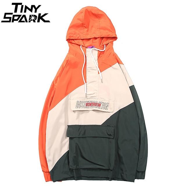 Harajuku Hooded Windbreaker Jacket Men Hip Hop Streetwear Hoodie Half Zip Jacket Coat Retro Color Block Track Jacket Autumn 2018