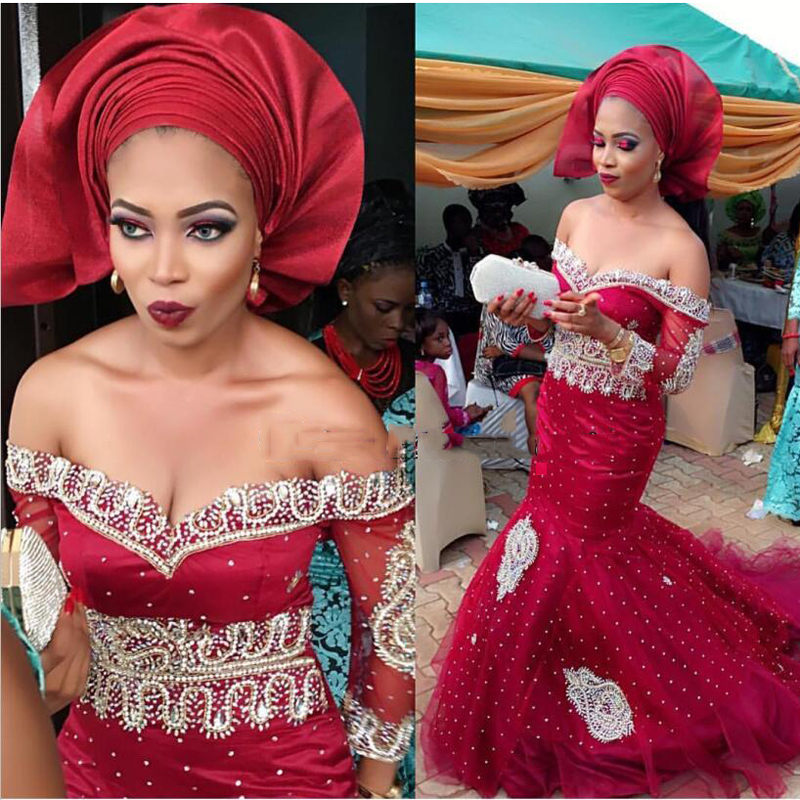 Robes de soirée africaines bordeaux longue sirène de luxe afrique mode robe de soirée de mariée robes de soirée de Style africain