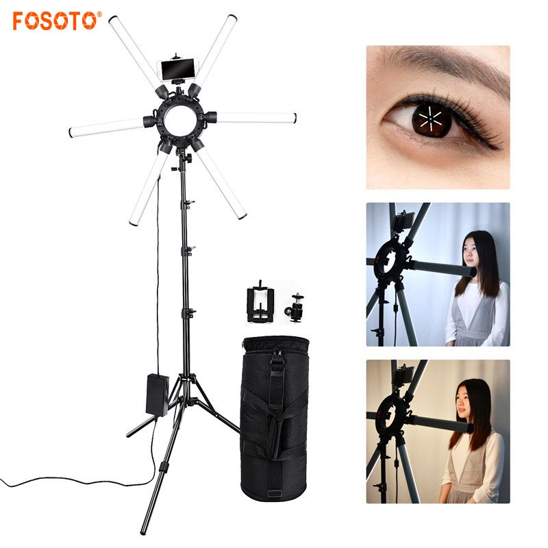 fosoto TL-1200S Photographic lighting 6 Tubes 336 leds 3200-5500K 120W Dimmable Camera Photo Phone Video Ring Light Lamp Stand a3 1200s 1230989
