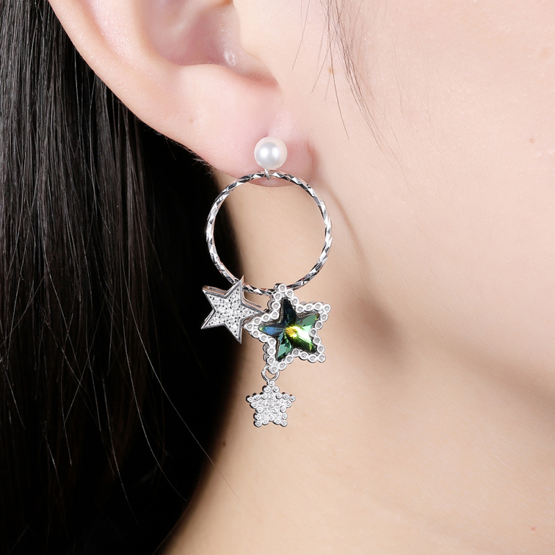 pure hoop earring 925 sterling silver star Zircon multicolor for women silver jewelry SE26 in Earrings from Jewelry Accessories