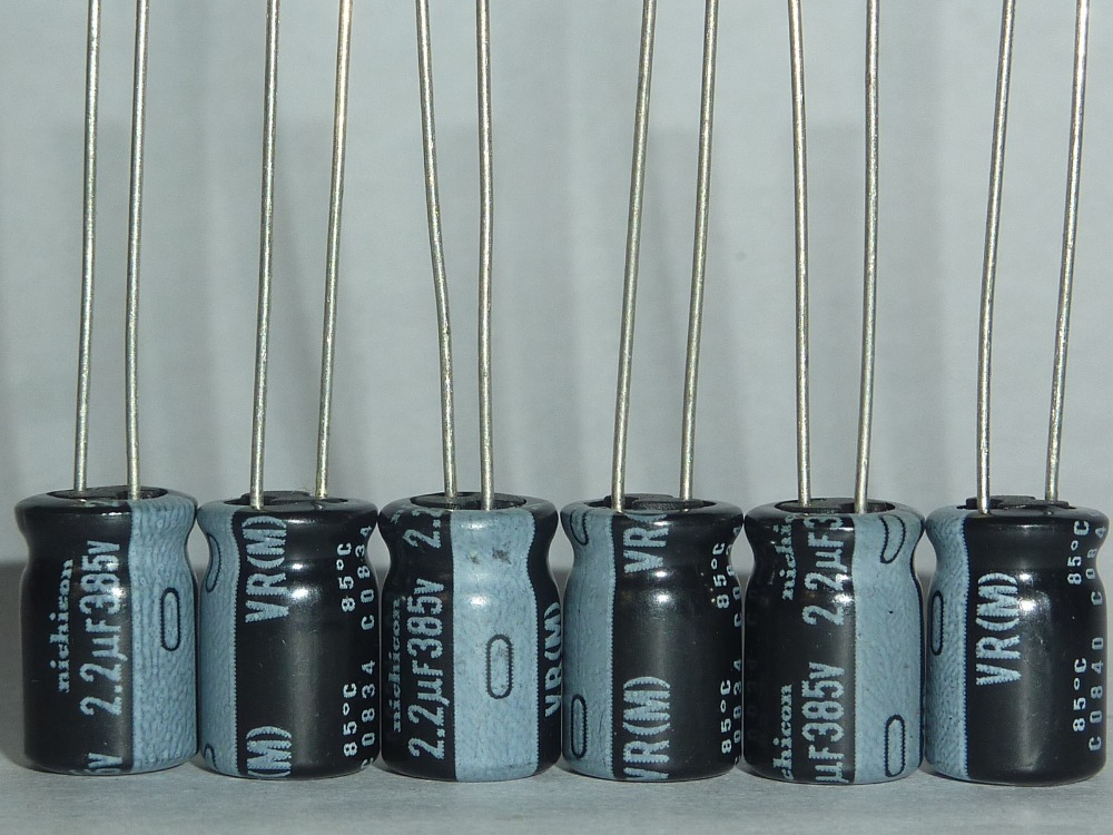 10pcs 2.2uF 385V NICHICON VR Series 8x12.5mm Miniature Sized 385V2.2uF Aluminum Electrolytic Capacitors