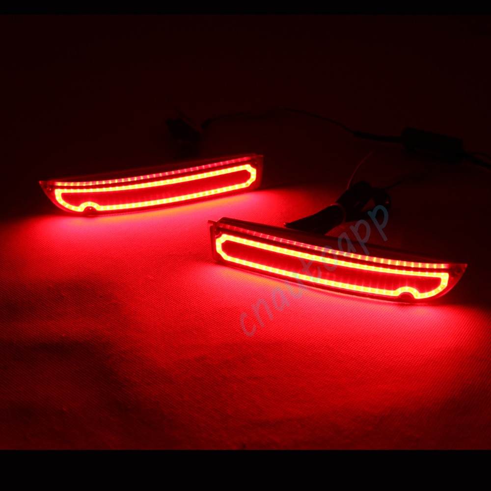 LED Rear Bumper Warning Lights Car Brake Lamp COB Running Light LED Turn Light For Toyota Alphard 2009-2014  (One Pair) dongzhen fit for nissan bluebird sylphy almera led red rear bumper reflectors light night running brake warning lights lamp