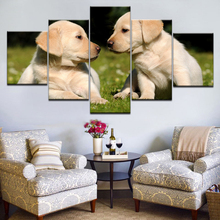 Cute dog animal 5 panel HD Print Modular modern Wall posters Canvas Art painting For home decor living room artwork