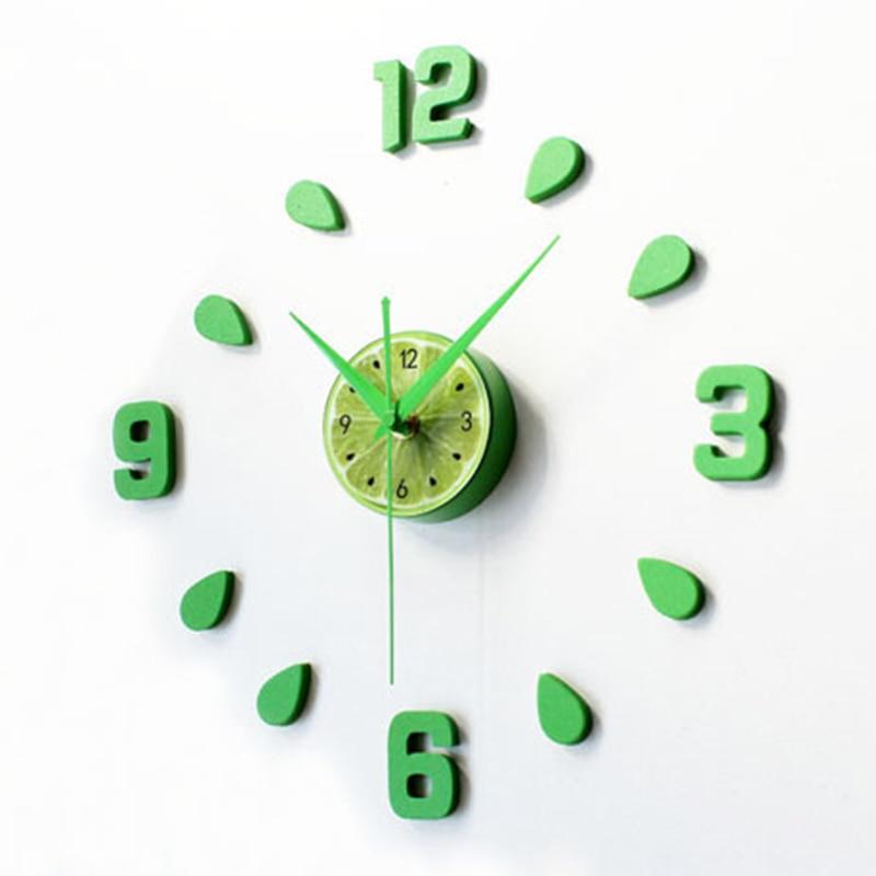 US $15.1 5% di SCONTO|Nuovo Arrivo Verde Limone Design sticker EVA 30 CM 60  CM cucina orologio da parete di colore grande decorativi 3d fai da te ...