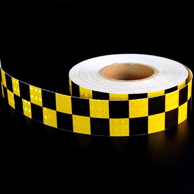 Черного, желтого цвета двойной Цвета шахматная доска решетки Светоотражающие Клейкие лен ...