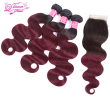 Queen Love Hair Pre-Coloed Ombre Indian Hair Weave Bundles Body Wave Human Hair Bundles With Closure Non Remy Hair Extensions