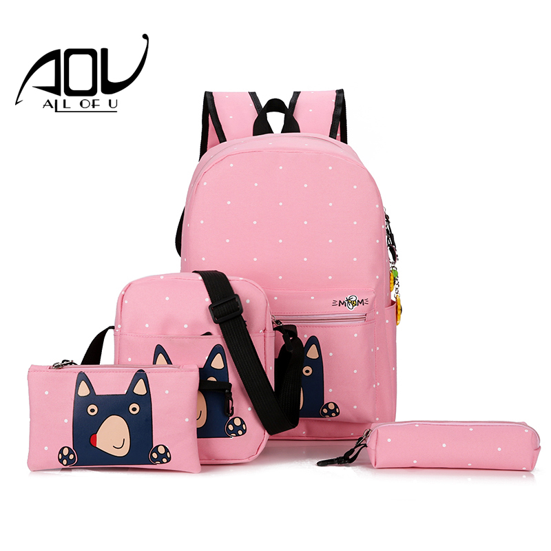 New 4pcs /set dot Canvas backpacks for teenage girls school bags 2018 women cute bear printing backpack shoulder bags for kids