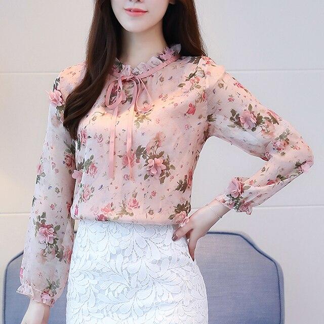 New women blouse shirt fashion 2018 long sleeve sweet print women's clothing applique ruffled neck feminine tops blusas 358F3