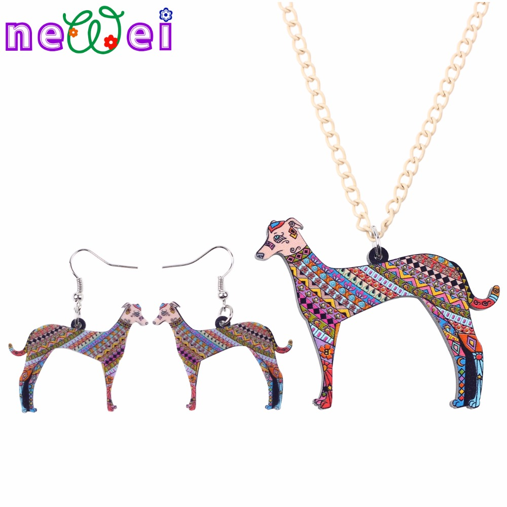 NEWEI Brand Jewelry Sets Acrylic Greyhound Dog Necklace Earrings Choker Collar Fashion Jewelry New Spring Women Girl Gift