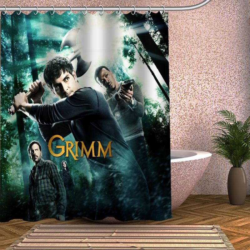 Grimm Shower Curtain Eco-friendly Modern Fabric polyester Custom Bath Curtains Home Decor