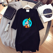 2019 Summer Dress Goofy Cartoon Print Short Sleeve Fashion Black White Casual Loose Cute Plus Size Mini M-4XL