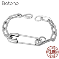 925 Sterling Silver Paper Clip Men Women Bracelet Width 7mm Classic Vintage Link Chain 925 Thai Silver Bracelets Fashion Jewelry
