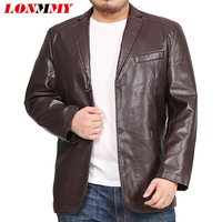 LONMMY 6XL 7XL 8XL Leather jacket men blazer Mens jackets and coats Tuxedo suits mens Outerwear 2018 jaqueta KHAKI BLACK