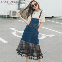 Denim sundress lace 2018 chic spagetti strap jeans dress sleeveless pinafore dress AA3696 Y A