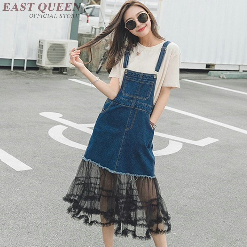 Robe d'été en Denim dentelle 2018 chic robe en jean à bretelles spaghetti sans manches robe avant droite AA3696 Y A