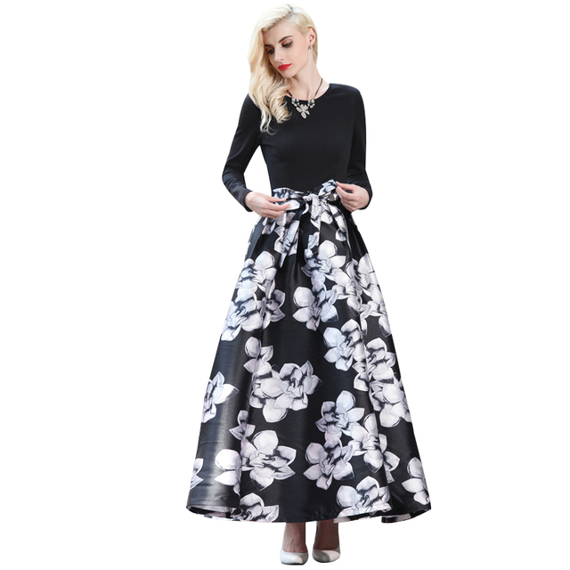Aliexpress buy m xxxl fall elegant black white flowers maxi m xxxl fall elegant black white flowers maxi dress bow waist long sleeve muslim mightylinksfo