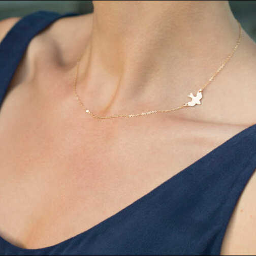 831 mới cực sang trọng đơn giản vàng chim bồ câu hòa bình ngắn cổ áo choker vòng cổ cho phụ nữ n4072