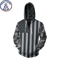 America USA Flag Striped Print Fleece Hoodie Sweatshirt 2018 Funny Camo Sleeve 3D Zipper Hoodies Sweatshirts Men/Women Tracksuit