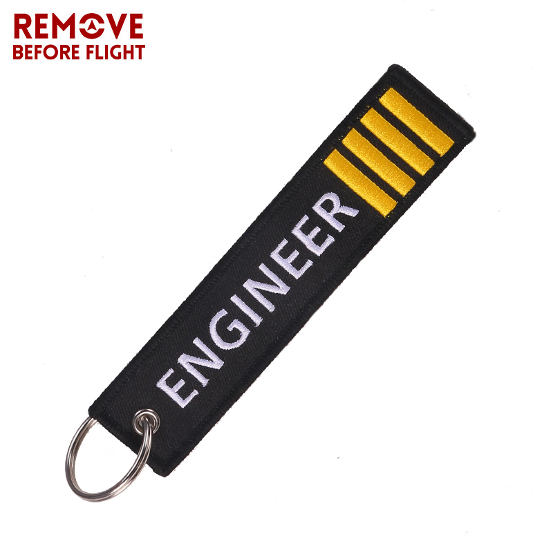 Remove Before Flight Key Chain Jewelry Embroidery Engineer Key Ring Chain For Aviation Gifts Luggage Tag Label Fashion Keychains