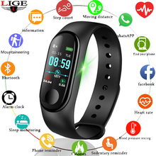 LIGE Smart Bracelet LED Color Screen Sport Watch Men Wristband Fitness Heart Rate Pedometer Tracking Detection smart watch