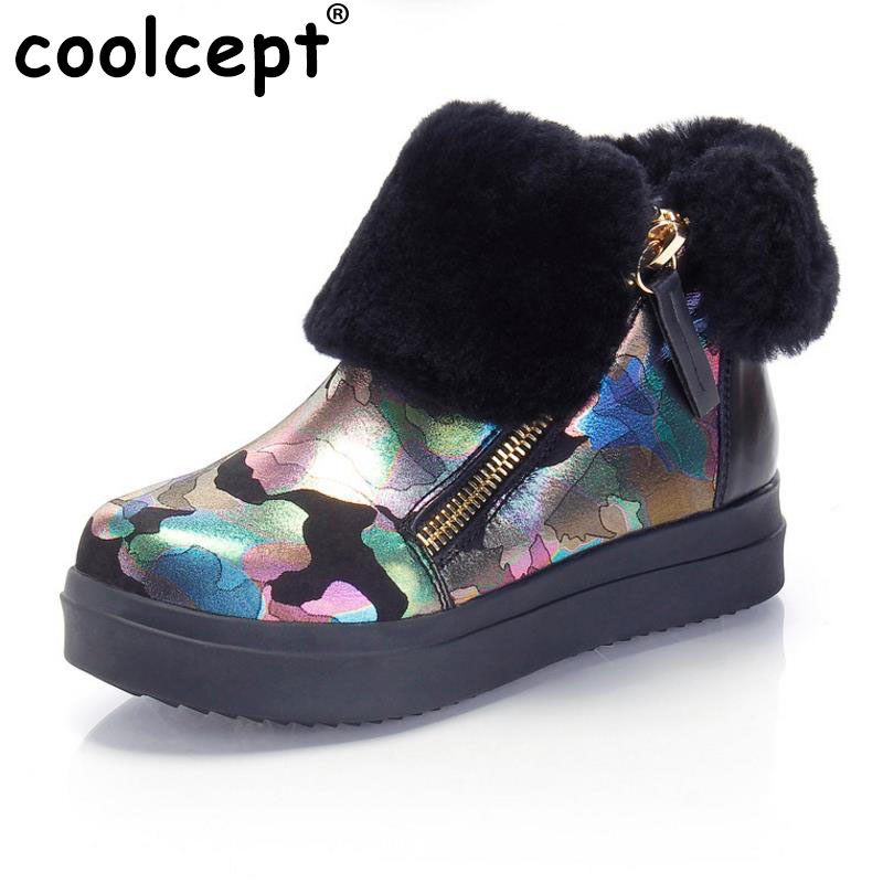 Coolcept Women Genuine Leather Flats Boots Zipper Thick Fur Shoes Warm Snow Boots In Cold Winter Botas Women Footwear Size 34-39 coolcept size 34 43 women half short thick bottom boots cross strap warm shoes cold winter boots mid calf botas women footwear