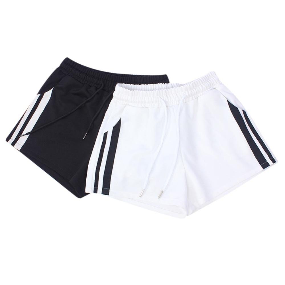 Women Striped Mid Waist Loose Shorts Drawstring Waist Shorts
