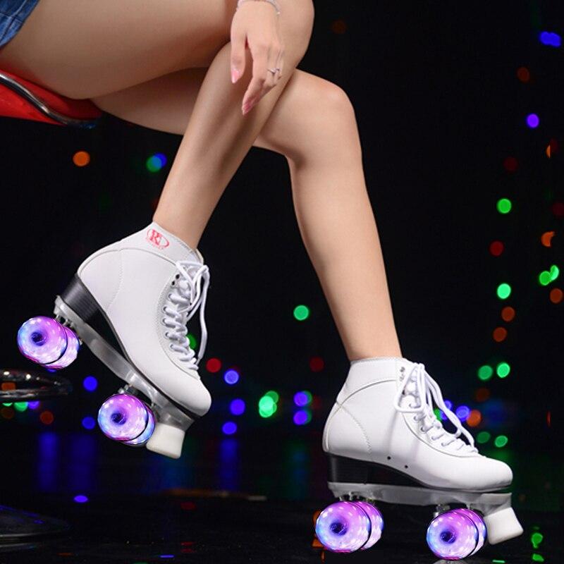 RENIAEVER double roller skates,  skating shoe, Gift girls white flashing wheels roller shoe, figure skates,white children roller sneaker with one wheel led lighted flashing roller skates kids boy girl shoes zapatillas con ruedas