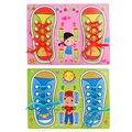 Crianças Brinquedo Educacional Montessori Crianças Aprender A Amarrar Cadarços de Sapatos Lacing Sapatos de Brinquedo De Madeira Brinquedos de Desenvolvimento da Coordenação Mão