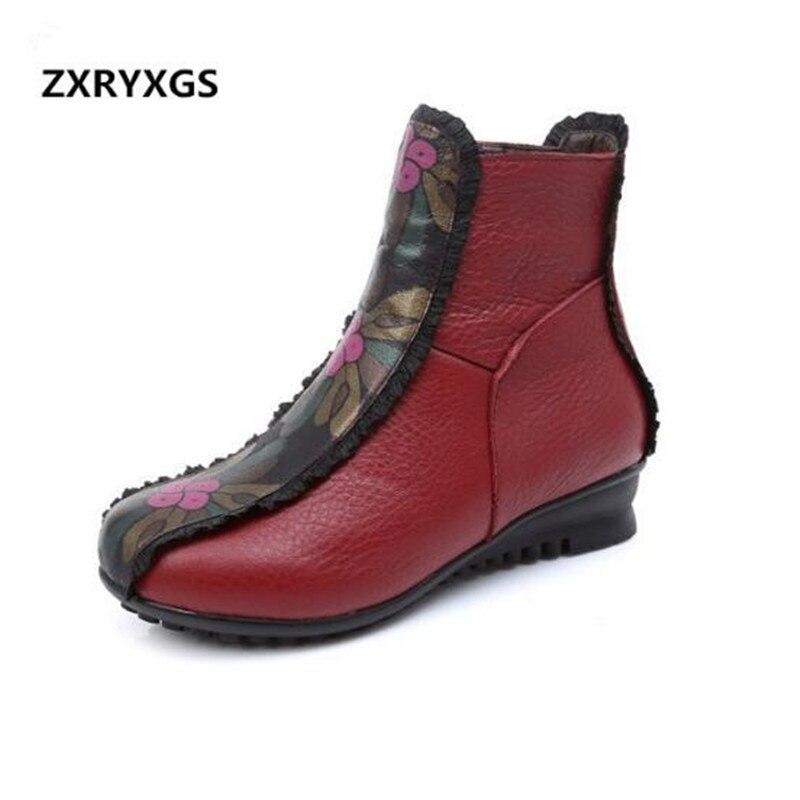 3ae5978e Nieve Cuero Genuino Winter Comodidad De Mujer Tamaño 2019 Elegante Zapatos  Gran Boots black Nuevo Boots Invierno ...