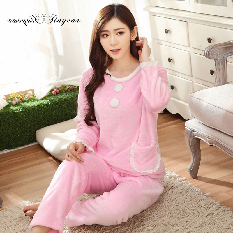 Tinyear pajamas Women fleece thicken Autumn Winter casual long sleeve M XXL  Women thermal pyjamas With Pocket design -in Pajama Sets from Women's  Clothing ...