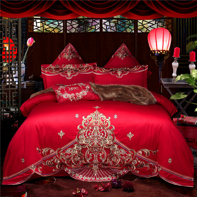 2018 Wedding Bed Duvet Cover Set Luxury Embroidery Comforter Bedding