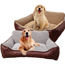 New All Seasons Breathable Waterproof Tomentellate leather Pet corn cashmere sofa bed Small Medium Large Dog Cat Beds