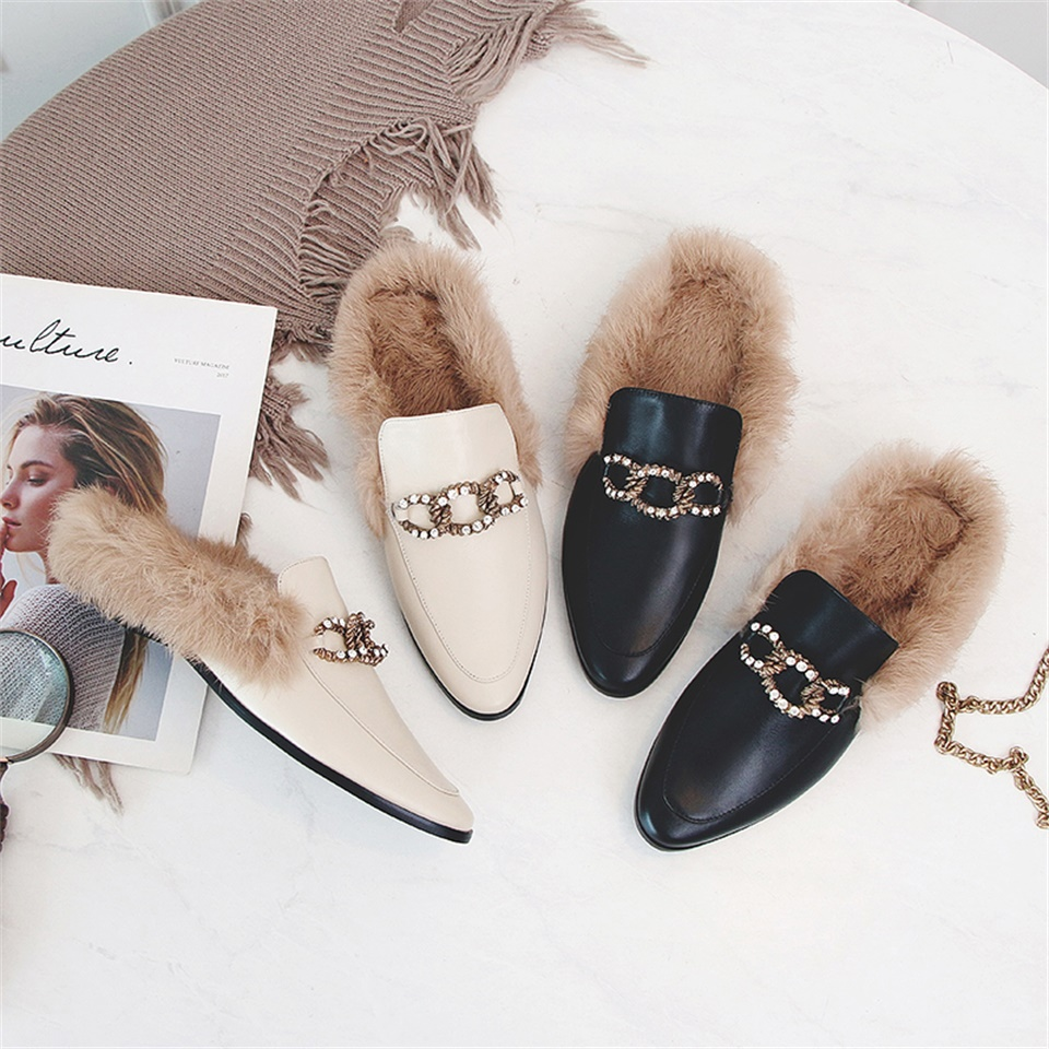 Women Autumn Winter Mules Fashion 2cm heel Slip On Slides Real Cow Leather Real Fluffy Fur Slippers Loafer Women Shoes phyanic fashion women s slide on slip on mule star bee embroidery loafer flats shoes slides slippers new woman mules outside