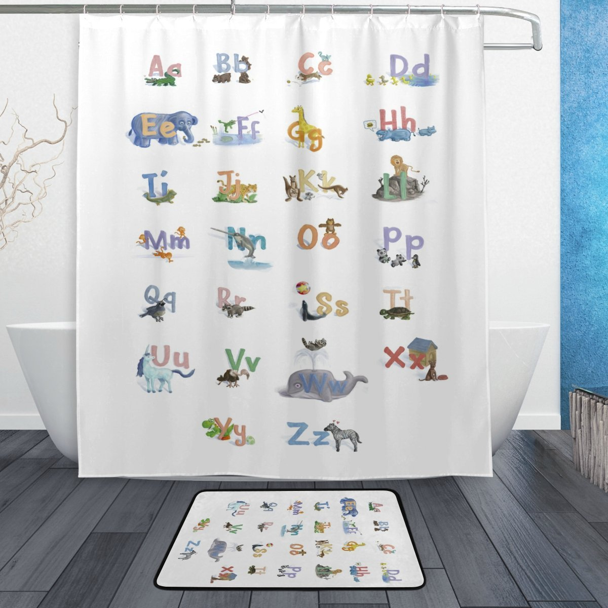 Learning Tools For Kids Shower Curtain And Mat Set ABC Alphabet Educational Waterproof Fabric Bathroom In Curtains From Home Garden On