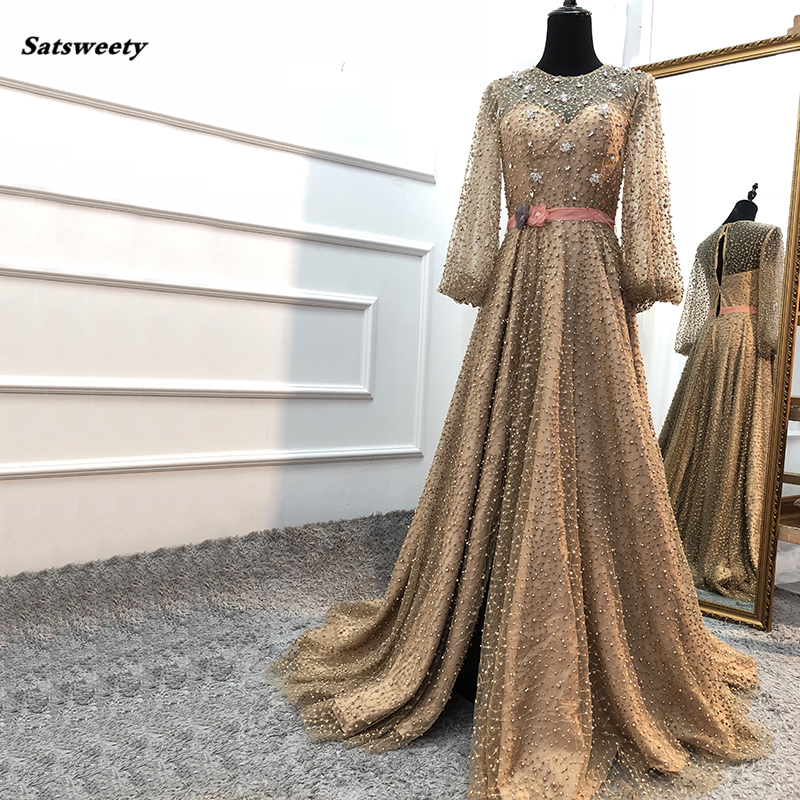 Bridesmaid Dresses 2020 Arab Gown Luxury Diamond Pearls Sparkle Prom Dresses Long Sleeves Fashion Sexy Party Gowns