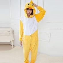 0b4a495159d Adult Kigurumi Onesie Anime Women Costume Yellow Duck Halloween Cosplay  Cartoon Animal Sleepwear Winter Warm Hooded