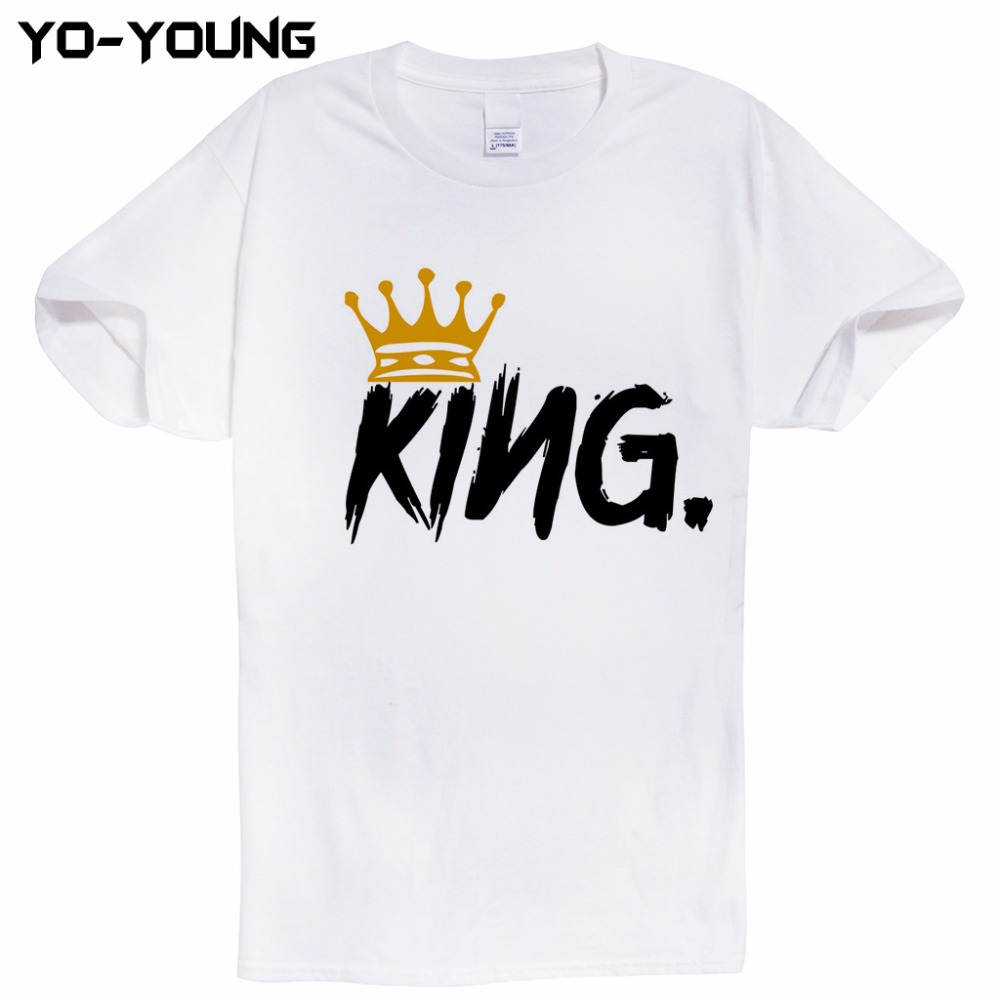Couple t shirt design white - King And Queen Couple T Shirts Men Women Letters Design Printing 100 Cotton Casual Men