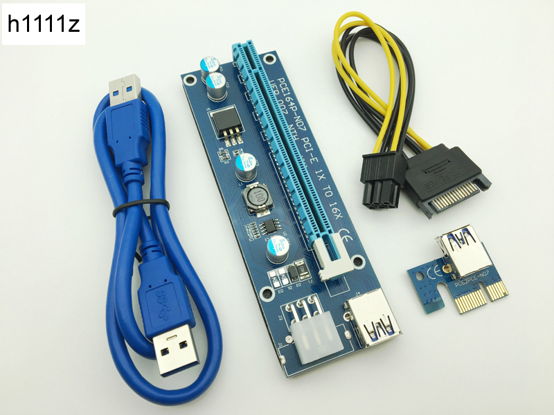 Riser VER007 PCI-E PCI Express 1x to 16x Riser Card USB 3.0 Data Cable SATA to 6Pin IDE  ...