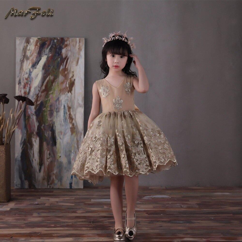 Marfoli Flower Girl Dress Pink Rose Wedding Pageant Kids Boutique 2017 Summer Princess Party Dresses Clothes ZT0067 marfoli girl princess dress birthday